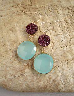 Plum Druzy Earrings Drusy Quartz Sea Green by julianneblumlo, $118.00