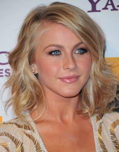 Julianne Hough Medium Wavy Hairstyle side swept bangs