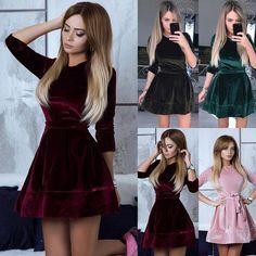 Velvet Skater Dress, Pink Midi Dress, Bodycon Dress Parties, Party Dress, Mode Rockabilly, Casual Cocktail Dress, Beautiful Evening Gowns, Vintage Dresses 50s, Different Dresses