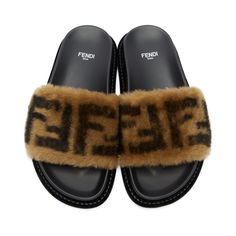 low priced 9c833 117a1 Fendi - Black amp Beige Shearling Forever Fendi Slides Round  Sunglasses, Fendi