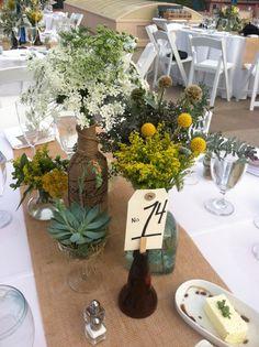 Rustic centerpiece, casual wedding.