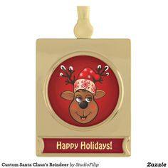 Custom Santa Claus's Reindeer Gold Plated Banner Ornament