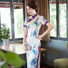 TIC-TEC chinese traditional women vintage flower print cheongsam long qipao oriental dresses elegant silk evening cloth P3112