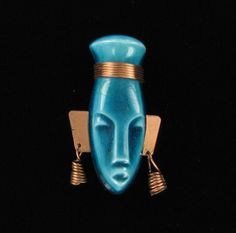 Large Elzac California Pottery Ceramic and Copper Ethnic Tribal Face Pin Brooch