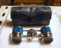 Antique, Vintage French Guilloche Enamel Opera Glasses/Binoculars, Very Rare Circa 1930. Christmas Sale 100.00 OFF.