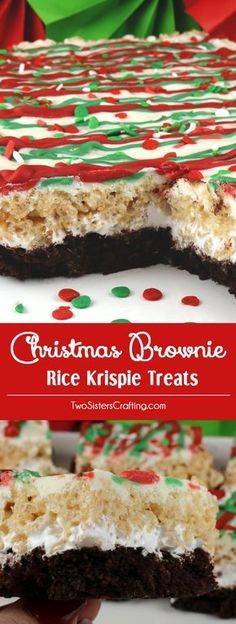 Christmas Brownie Rice Krispie Treats - your family will love these festive Holiday themed layered dessert bars featuring Brownies and Rice Krispie Treats. These colorful and festive Christmas Treats will be a fun addition to your Christmas baking list. These pretty and yummy Rice Krispie Treats are perfect for a Holiday Party or a family get-together. Pin this great Christmas dessert for later and follow us for more fun Christmas Food Ideas. #ChristmasDesserts #ChristmasTreats…