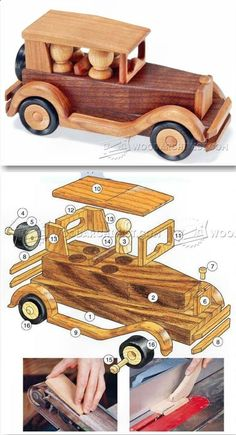 Wooden Toy Car Plans - Children's Wooden Toy Plans and Projects - Woodwork, Woodworking, Woodworking Plans, Woodworking Projects Wooden Toy Trucks, Wooden Car, Wooden Toys, Woodworking Toys, Woodworking Projects Diy, Wooden Projects, Wooden Crafts, Kids Toys For Boys, Wood Toys Plans