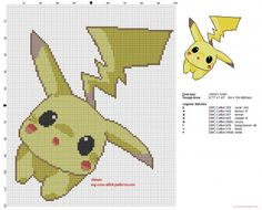 The Pokemon Pikachu tender and sweet cross stitch pattern (click to view)