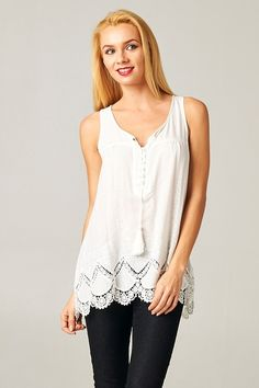 Feminine Embroidered, Relaxed Flowing Tunic Top with delicate Crochet Hem.