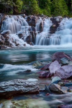 McDonald Creek Cascade, Glacier National Park in Montana