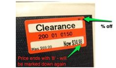 Target Clearance Tag Tricks 1. Check out the number in the right hand corner The small number located in the top right corner is the amount that the item is discounted. For example, 30, 50 or 70. So if you see a sticker with a 15 in the right corner, you may want to wait to see if it becomes discounted even further. 2. Pay special attention to the price because: If the price ends in an '8′ it will be marked down again. If the price ends in a '4′ it will NOT be marked down again.