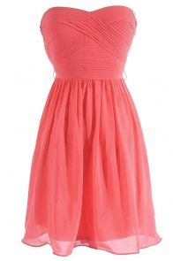 Sweet Surrender Strapless Chiffon Designer Dress by Minuet in Coral