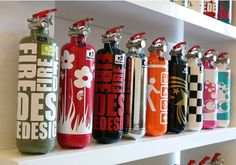 Hip Extinguishers to keep in your office or home. Urban dwellers live in fear of sudden infernos so it's very important to have a fire extinguisher for safety. But big clunky red extinguishers aren't exactly tres chic, are they?
