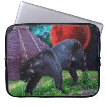 Black Jaguar & Chichen Itza Fantasy Laptop Sleeve