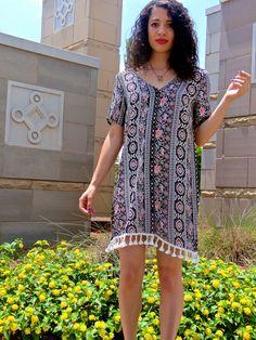 Shirt dress with tassel trim