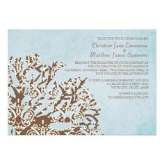 Brown and Teal Coral Beach Wedding Invitations