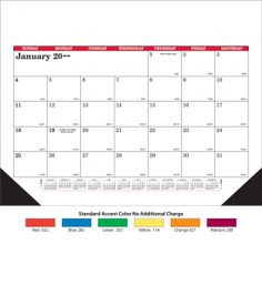 Product: 14D301 2018 Desk Pad 12-Sheet Display-A-Month Calendar Basic custom imprint setup & PDF proof included! This 12-sheet Display-A-Month desk pad calendar features a clean & simple design with large date blocks for daily notes and memos. This desk pad calendar includes every sheet imprinting & black corners. Calendars are imprinted in black ink, plus the accent color chosen for the calendar.Skinner Kennedy / SK51-E