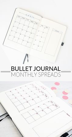 bullet journal monthly spreads