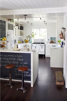 Kitchen Chalkboard Vintage Stove - White Vintage Kitchen Stove - Beach House Decor Ideas - House Beautiful-- an all time beautiful, memorable vintage kitchen! Deco Design, Küchen Design, Interior Design, Design Ideas, Interior Colors, House Design, Gray Interior, Bathroom Interior, Kitchen Interior