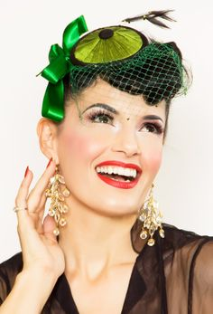 Green Silk Fascinator Hat with veil feathers     $46