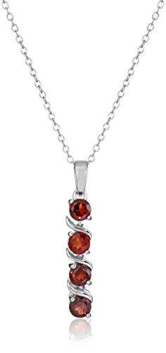 Sterling Silver Garnet Pendant Necklace best price  Garnet best price