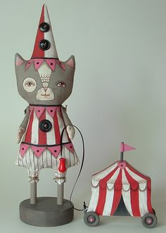 Seiko Contemporary Folk Art Cat Doll with Circus Tent Pull-Toy Vintage Circus, Vintage Cat, Vintage Toys, Toy Art, Puzzle Photo, Printable Images, Pull Toy, Cat Doll, Soft Sculpture