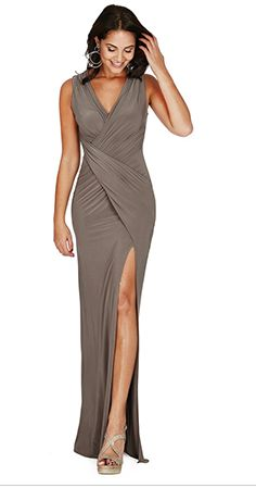 This high slit v neck maxi dress is perfect for the evening and holidays. Shop Now! Size 10 - 14. Different colors available.