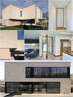 Moderne woning lichte gevelsteen en zwarte ramen. Binnenhuis staan deuren van Anyway Doors. #modernearchitectuur #modern