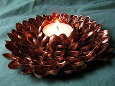 Pistachio shell candle holder