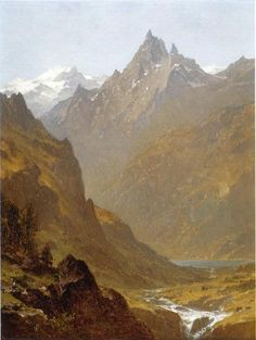 Scène suisse, huile sur toile de Sanford Robinson Gifford (1823-1880, United States)