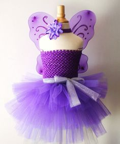 Baby girls purple Butterfly Wings tutu dress with headband set - Infant to Girls 8