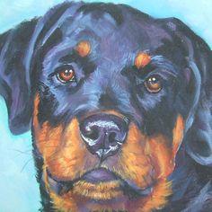 Rottweiler art print CANVAS print of LA Shepard painting 12x12 dog art. $39.99, via Etsy.