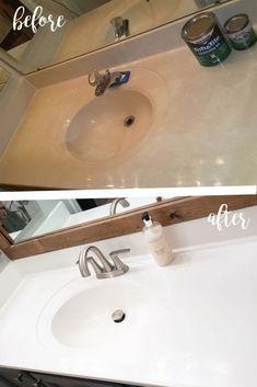 bathroom sink Refinished Bathroom Sink and Shower/Tub - The House Brew Refinished Waschbecken und Dusche / Badewanne - The House Brew Casa Disney, Best Kitchen Design, Tub Tile, Ceramic Tile Bathrooms, Tiles, Bathroom Renos, Bathroom Ideas, Bathroom Renovations, Remodel Bathroom