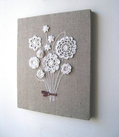 burlap canvas and sew on Grandma Davis' doilies