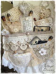 "Beautiful shabby lace hanger - Sew pockets onto ""slip"" for cash/ license, lipstick! Shabby Vintage, Vintage Crafts, Fabric Art, Fabric Crafts, Sewing Crafts, Sewing Projects, Fabric Journals, Shabby Chic Crafts, Linens And Lace"