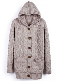 Apricot Hooded Long Sleeve Cardigan Sweater Coat pictures