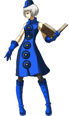 Elizabeth Idle Stance (P4A) Elizabeth is a resident of the Velvet Room and is attempting to free the soul of the Protagonist of Persona 3 from the seal of Nyx.