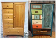 Creativo antes y después de un mueble común con puerta y cajones • Great transformation on a chest of drawers