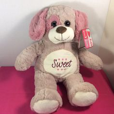 "NEW Kellytoy Plush Brown Pink Cuddle Dog Stuffed Animal Toy 17"" Sweet Belly #Kellytoy"