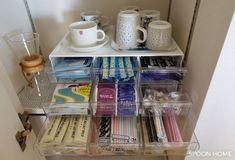 ニトリのレターケース9個引き出しの収納ブログ画像 Tea Station, Home Organization, Organizing, Closet Storage, Kitchen Pantry, Hacks, Mugs, Tableware, Room