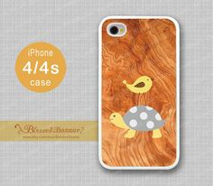 Wood, tortoise/turtle & Bird iPhone 4 Case, iPhone 4s Case, iPhone 4 Hard Plastic/Soft Rubber Case,Personalized iPhone Case,water proof on Etsy, $8.99
