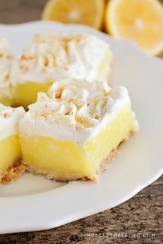These easy Lemon Pie Squares offer the delicious taste of Lemon Pie, without the fuss!