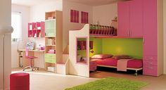 Pink Girls Bedroom Ideas featuring Bunk Bed Furniture Picture