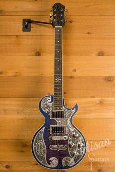 Guitare Teye super Coyote électrique Fini Bleu avec Aluminium Gravé ID-11252   Artisan Guitars