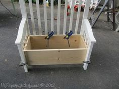 upcycled repurposed crib into toy box bench, carpentry  woodworking, repurposing upcycling, I built a box out of 1x10 s using pocket hole screws I used a piece of plywood for the bottom I dry fit it all together with clamps
