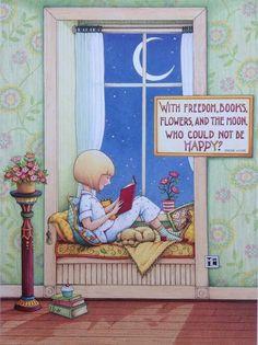 """bibliolectors: """"Tenemos por delante un largo fin de semana lector, en casa, aislados del frío (ilustración de Mary Engelbreit) """""""