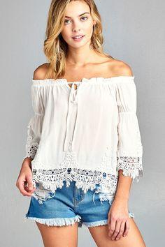 Ladies fashion short sleeve w/crochet trim off the shoulder front ribbon tie crinkle gauze woven top
