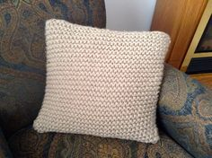"Hand Knit Taupe 18"" Square Pillow Cover by bricoknits on Etsy https://www.etsy.com/listing/217515382/hand-knit-taupe-18-square-pillow-cover"