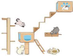 Um verdadeiro parque de diversão para seu animal de estimação. Móveis personalizados para gatos.