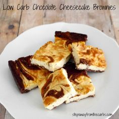 Sugar Free Cheesecake Recipes - My PCOS Kitchen - Delicious Low Carb Cheesecake Recipes that have NO sugar and are all gluten-free! Low Carb Chocolate Cheesecake Brownies - Step Away from the Carbs Chocolate Cheesecake Brownies, Low Carb Cheesecake, Cheesecake Recipes, Dessert Recipes, Keto Brownies, Cheesecake Bars, Dessert Bars, Dessert Ideas, Snack Recipes